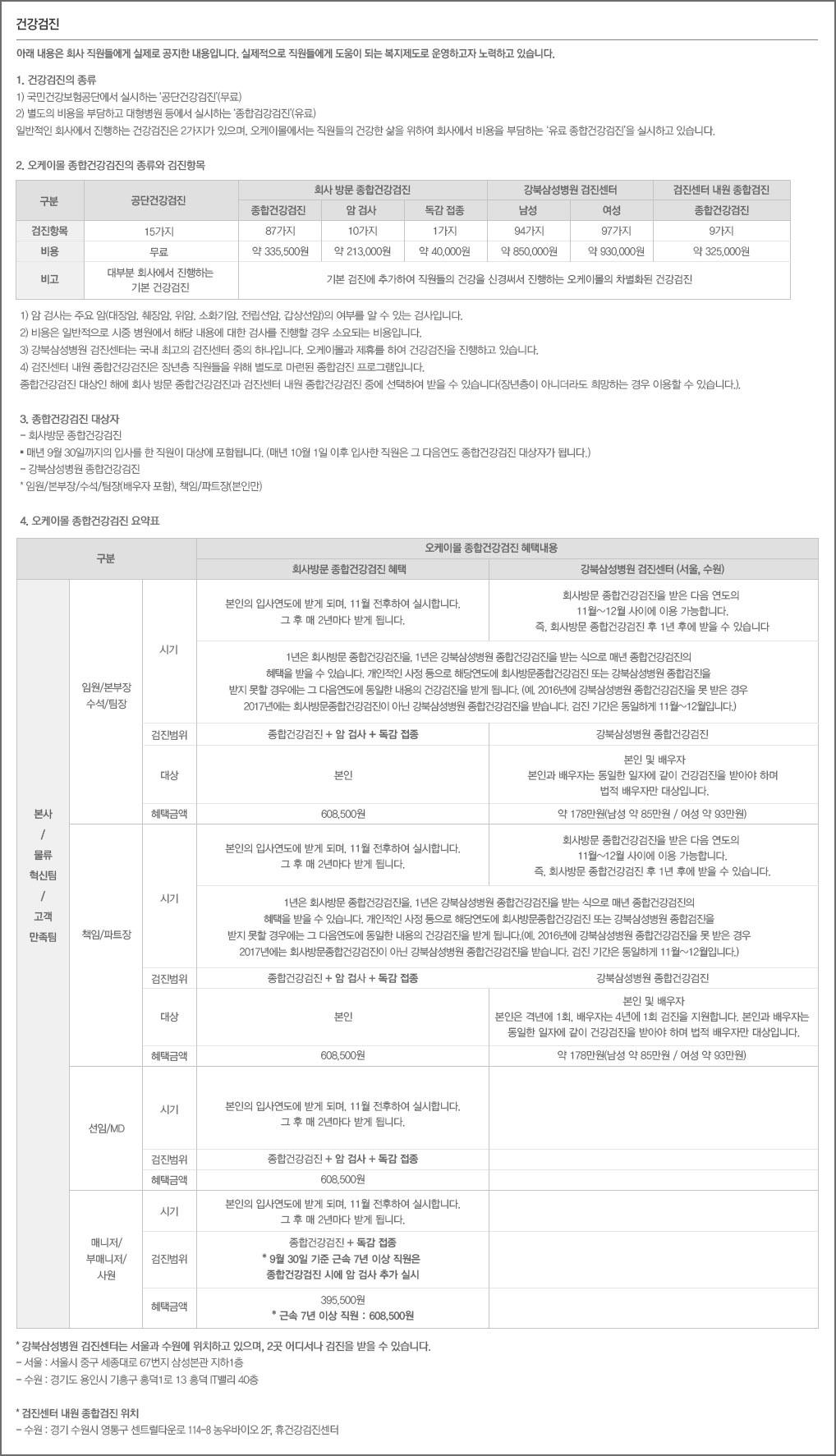 오케이몰의 건강검진 소개