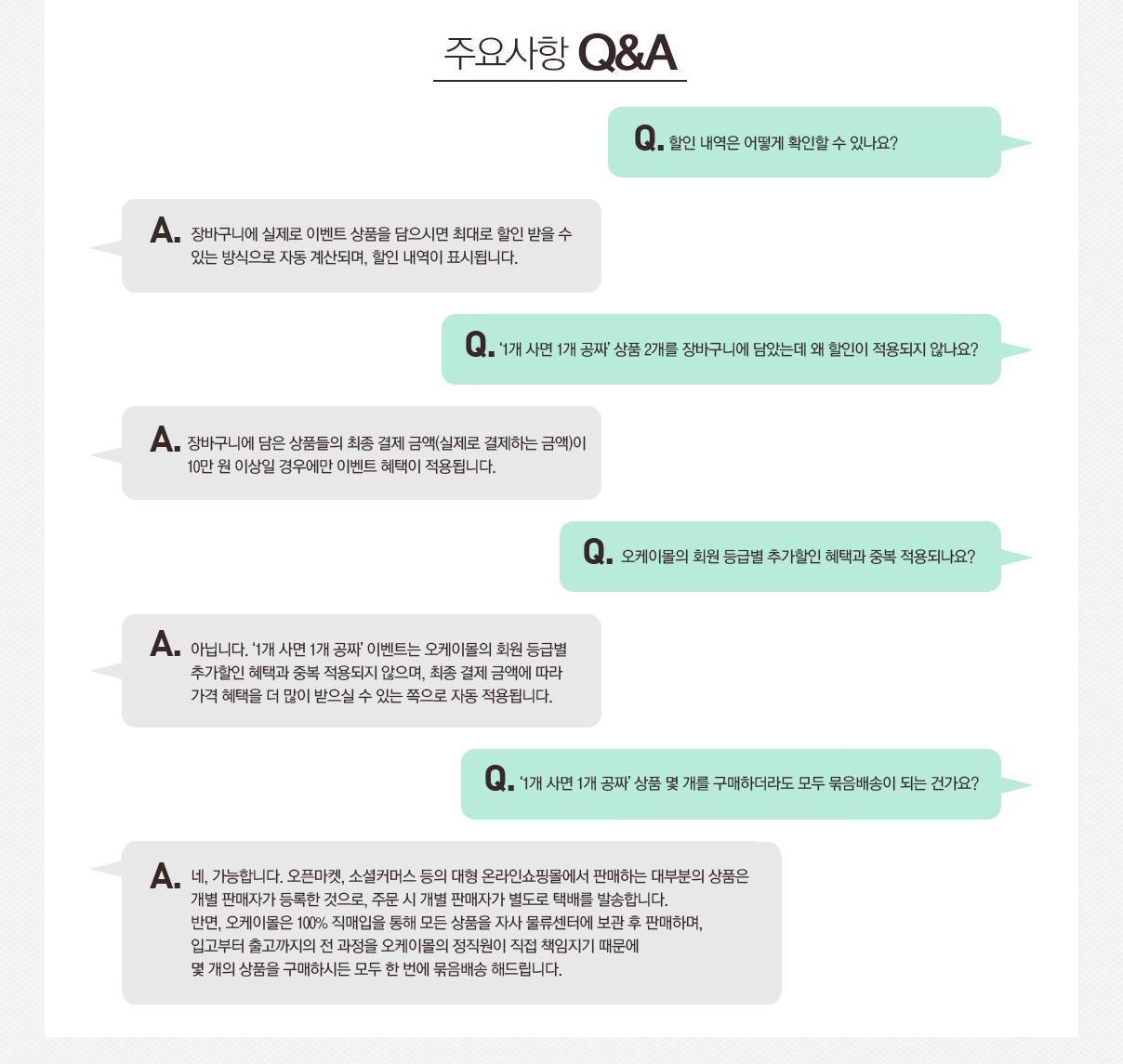 1사면1공짜 주요사항 Q&A
